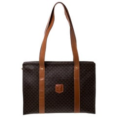 Céline Brown Macadam Coated Canvas and Leather Tote