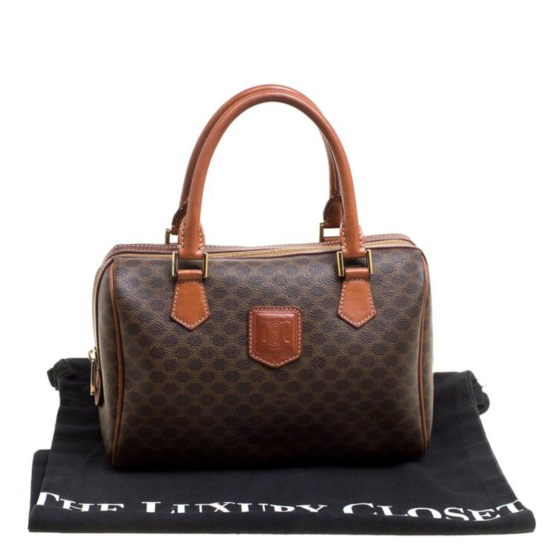 14cddb23fdb4 Céline Brown Macadam Coated Canvas Boston Bag For Sale at 1stdibs