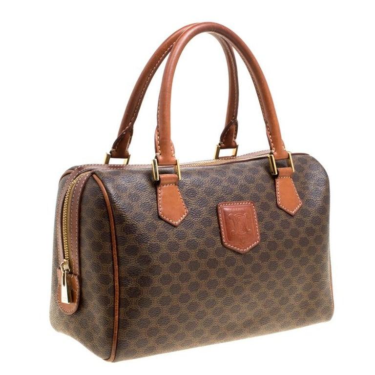 1d6a2efeefbb Céline Brown Macadam Coated Canvas Boston Bag In Good Condition For Sale In  Dubai