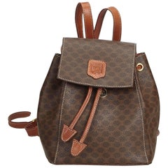 Celine Brown Macadam Drawstring Backpack