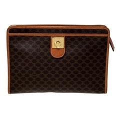 Celine Brown Macadam Leather Clutch