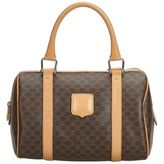 Celine Brown PVC Plastic Macadam Boston Bag France