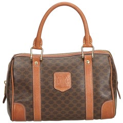 Celine Brown PVC Plastic Macadam Boston Bag Italy
