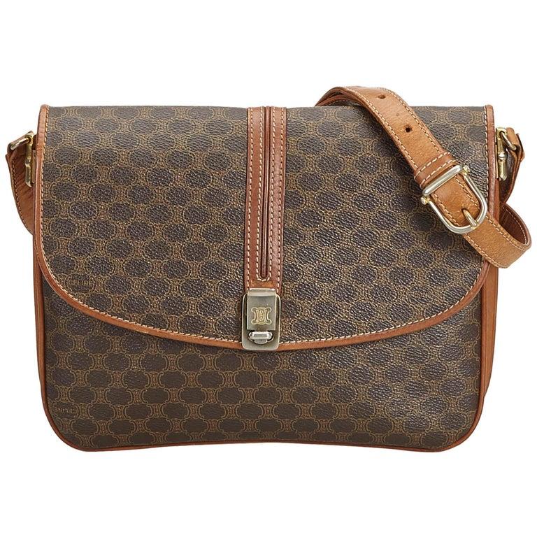 Celine Brown Pvc Plastic Macadam Crossbody Bag Italy For Sale At 1stdibs