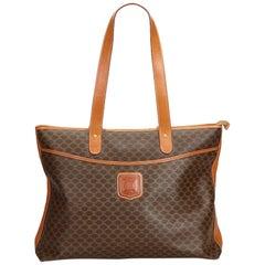 Celine Brown PVC Plastic Macadam Shoulder Bag France