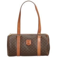 Celine Brown PVC Plastic Macadam Shoulder Bag Italy