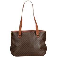 Celine Brown PVC Plastic Macadam Tote Bag France