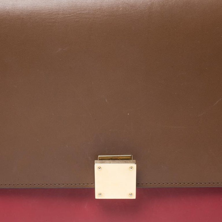 Celine Brown/Red Leather Large Classic Box Bag For Sale 6