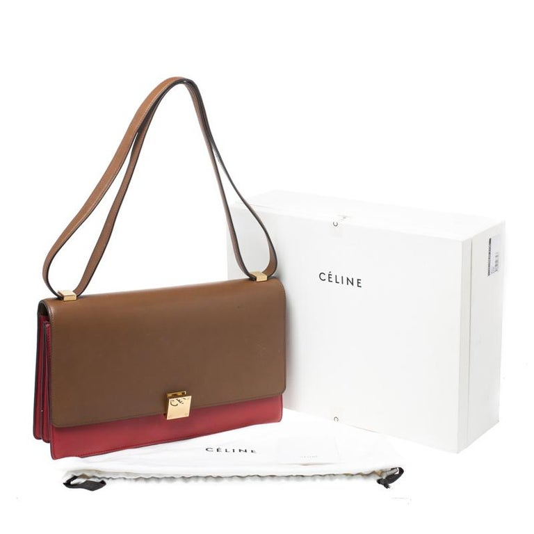 Celine Brown/Red Leather Large Classic Box Bag For Sale 7