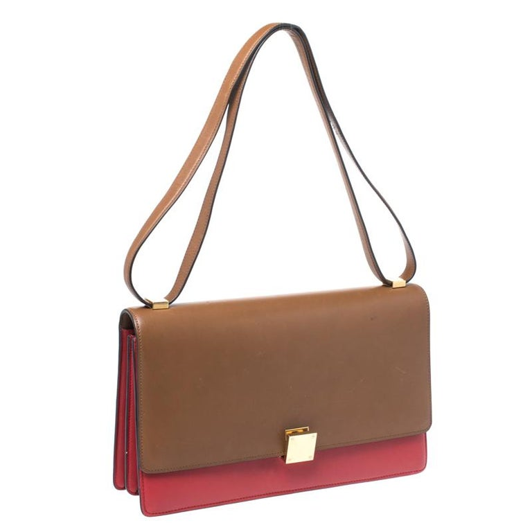 Women's Celine Brown/Red Leather Large Classic Box Bag For Sale