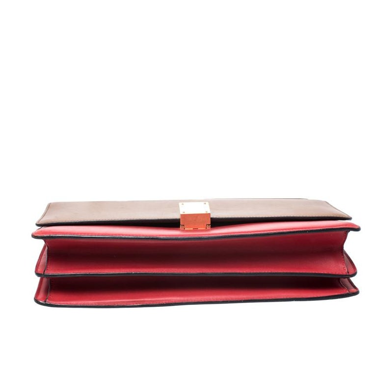 Celine Brown/Red Leather Large Classic Box Bag For Sale 1