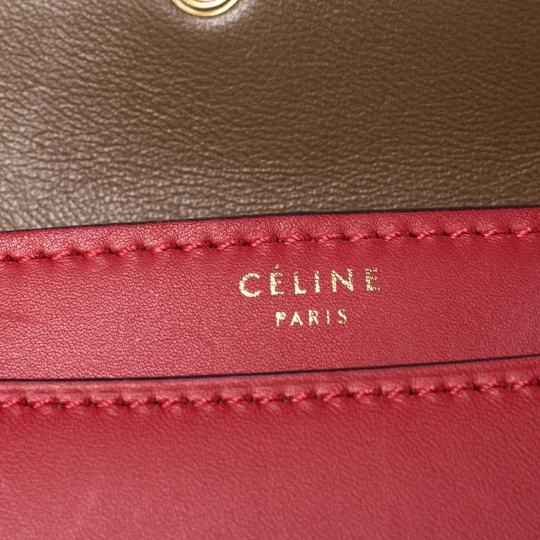 Celine Brown/Red Leather Large Classic Box Bag For Sale 2