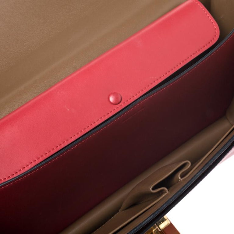 Celine Brown/Red Leather Large Classic Box Bag For Sale 3