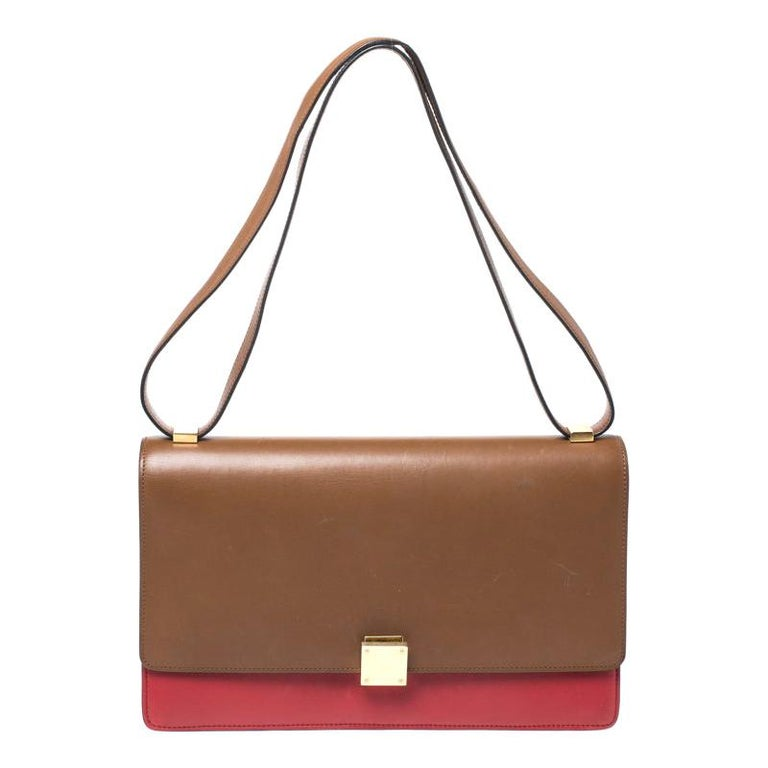 Celine Brown/Red Leather Large Classic Box Bag For Sale