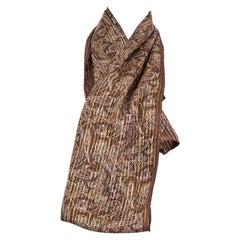 CELINE brown silk GOLD LUREX PAISLEY Scarf Shawl