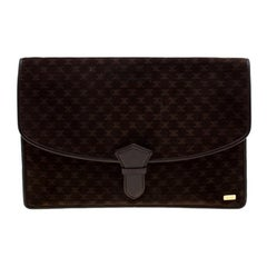 Celine Brown Suede and Leather Clutch