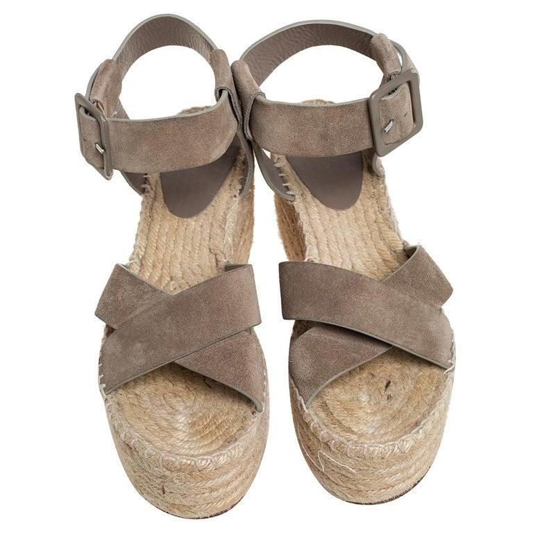 Celine Brown Suede Criss Cross Sandals Size 39 In Good Condition For Sale In Dubai, Al Qouz 2