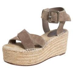 Celine Brown Suede Criss Cross Sandals Size 39