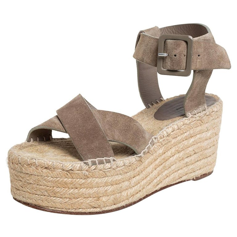 Celine Brown Suede Criss Cross Sandals Size 39 For Sale