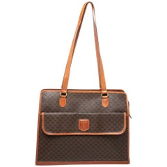 Celine Brown/Tan Macadam Coated Canvas and Leather Tote
