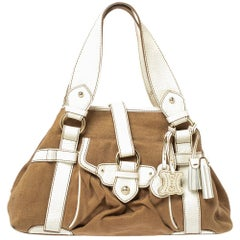 Celine Brown/White Canvas and Leather Boogie Tote