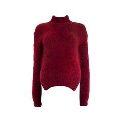 CELINE burgundy angora SIDE SLIT Turtleneck Sweater XS