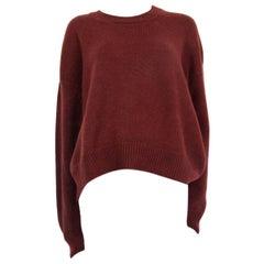 CELINE burgundy cashmere blend Crewneck Sweater S