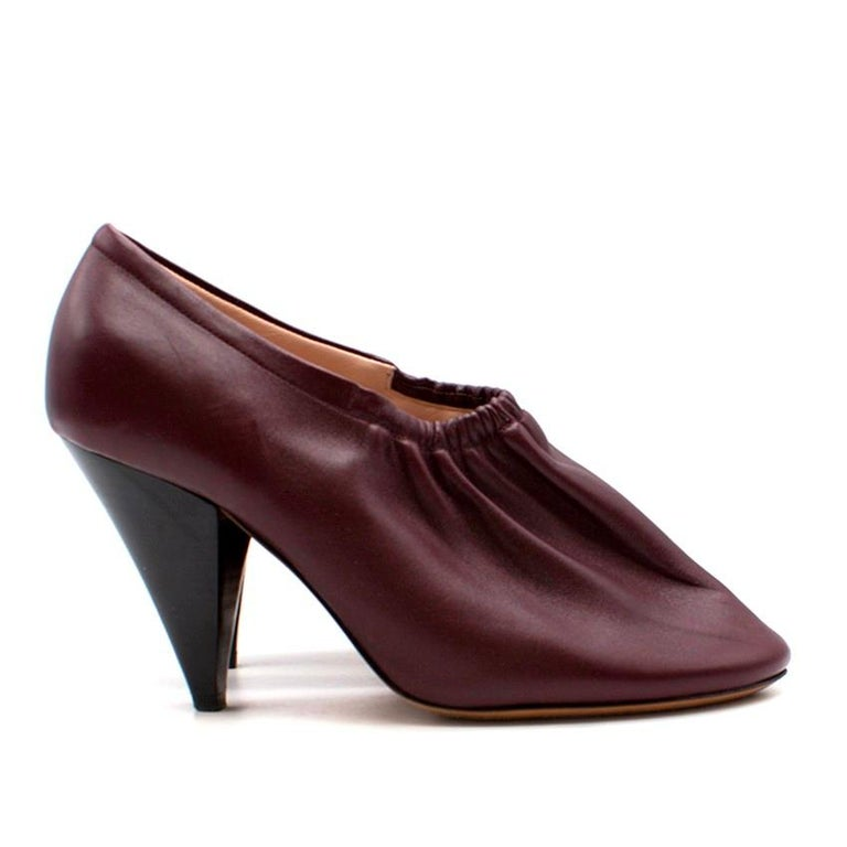 Celine Burgundy Elasticated Cone Heel Pumps SIZE 35.5 For Sale 5