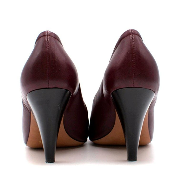 Women's Celine Burgundy Elasticated Cone Heel Pumps SIZE 35.5 For Sale