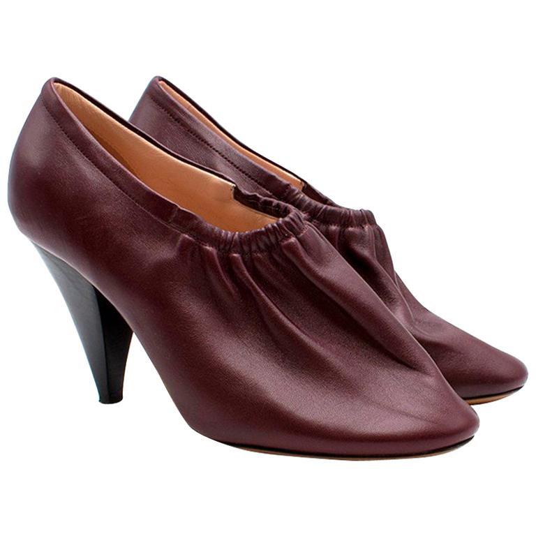 Celine Burgundy Elasticated Cone Heel Pumps SIZE 35.5 For Sale