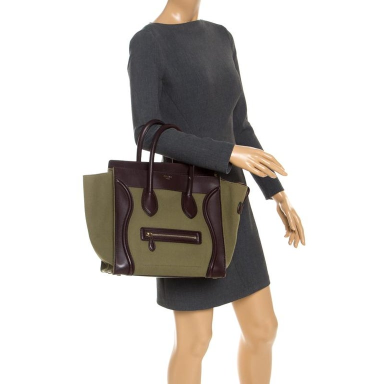 Black Celine Burgundy/Green Canvas and Leather Mini Luggage Tote For Sale