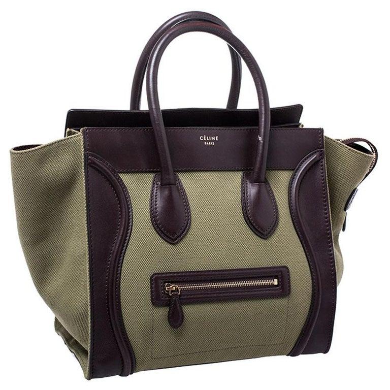 Celine Burgundy/Green Canvas and Leather Mini Luggage Tote In Good Condition For Sale In Dubai, Al Qouz 2