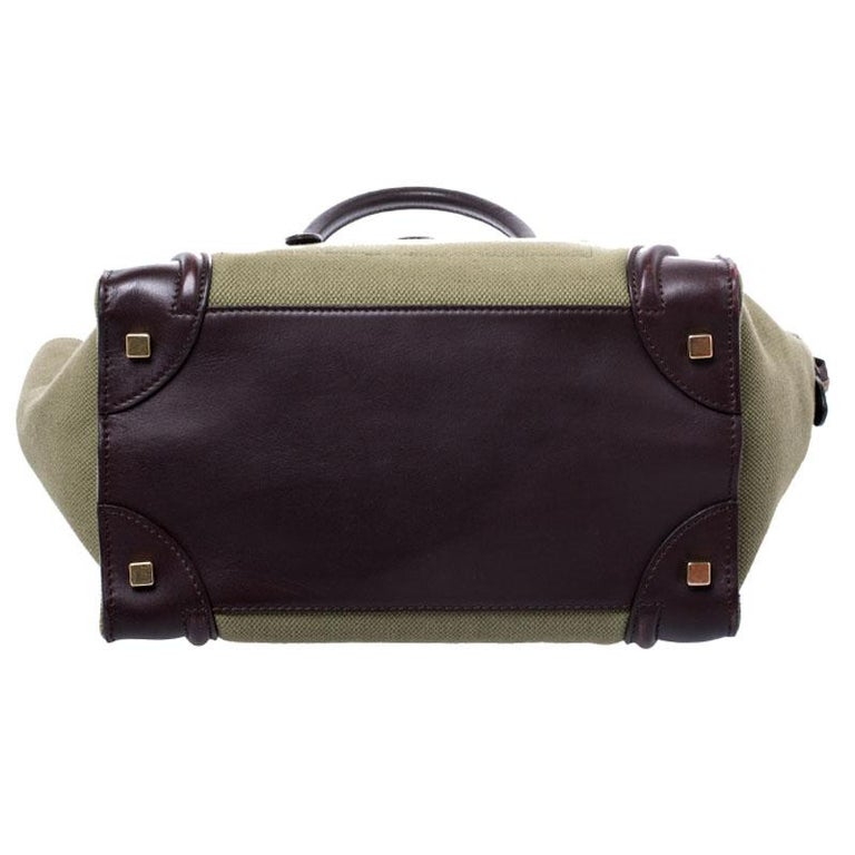 Women's Celine Burgundy/Green Canvas and Leather Mini Luggage Tote For Sale