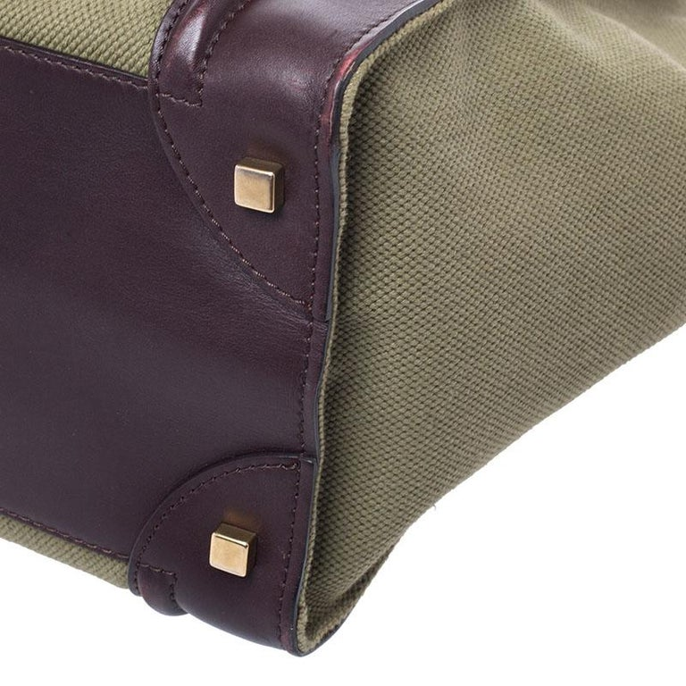 Celine Burgundy/Green Canvas and Leather Mini Luggage Tote For Sale 3
