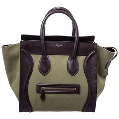 Celine Burgundy/Green Canvas and Leather Mini Luggage Tote