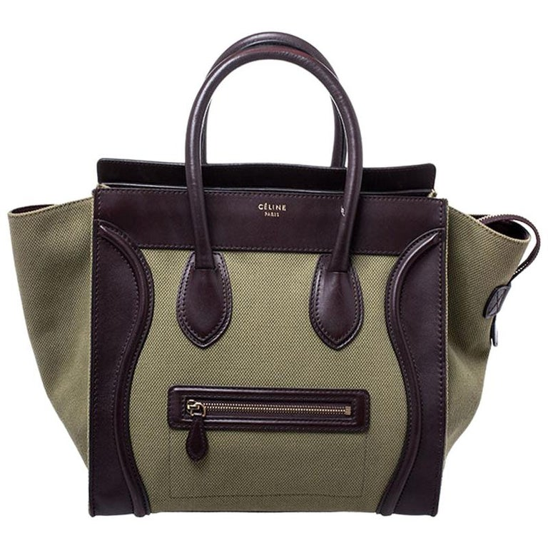 Celine Burgundy/Green Canvas and Leather Mini Luggage Tote For Sale