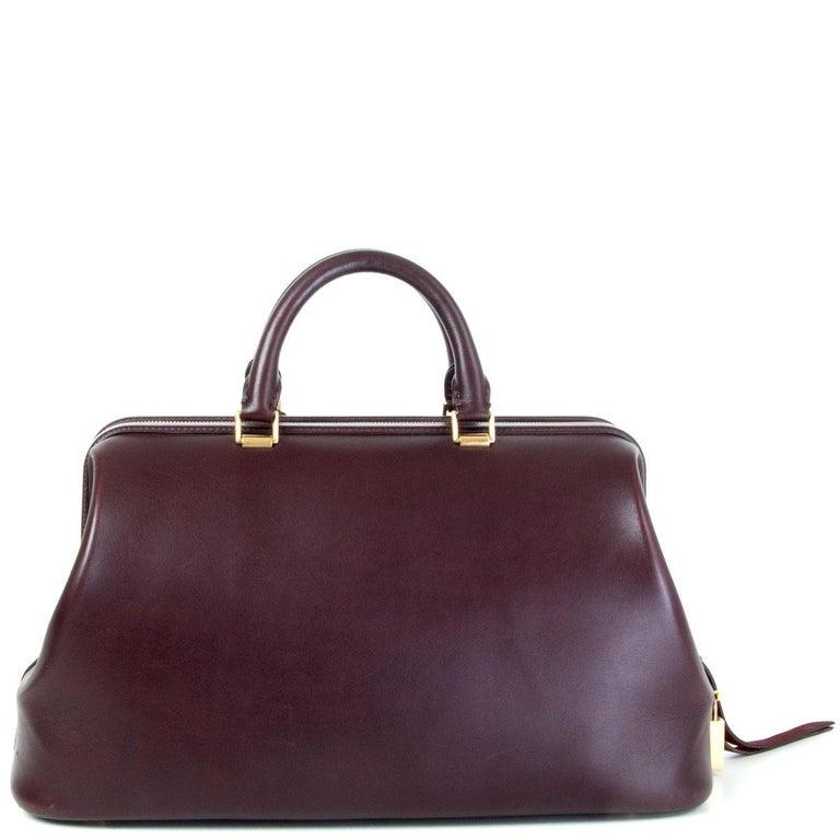 Black CELINE burgundy leather FRAME DOCTOR SMALL Bag For Sale