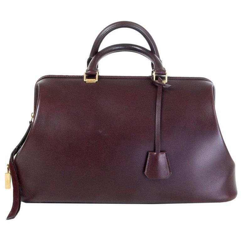 CELINE burgundy leather FRAME DOCTOR SMALL Bag For Sale