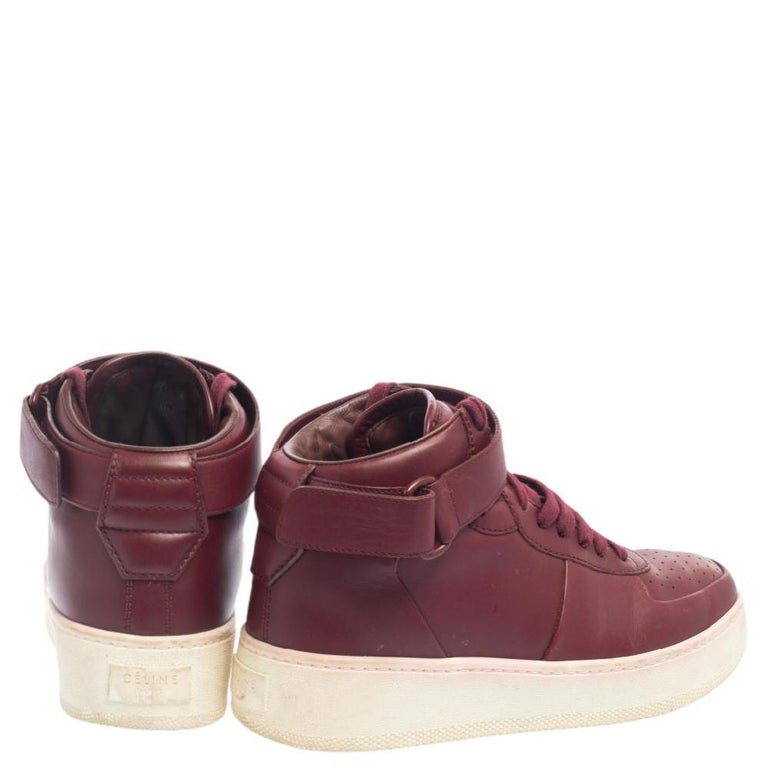 Brown Celine Burgundy Leather Mid Top Lace Up Sneakers Size 38 For Sale