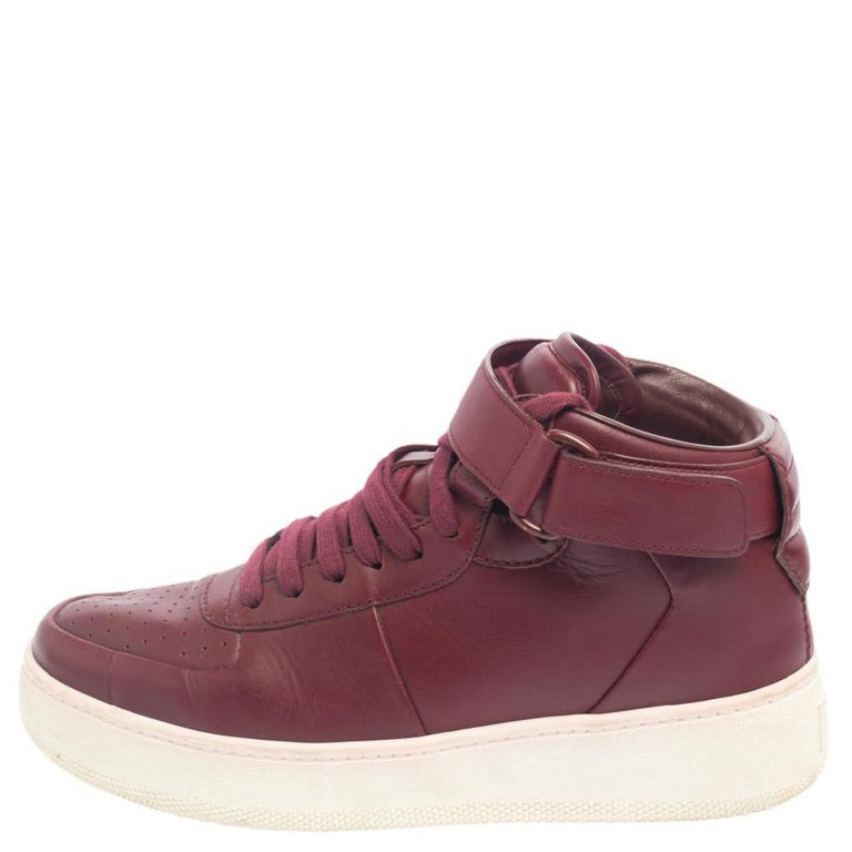 Women's Celine Burgundy Leather Mid Top Lace Up Sneakers Size 38 For Sale