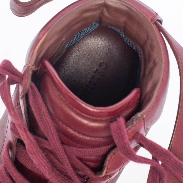 Celine Burgundy Leather Mid Top Lace Up Sneakers Size 38 For Sale 1