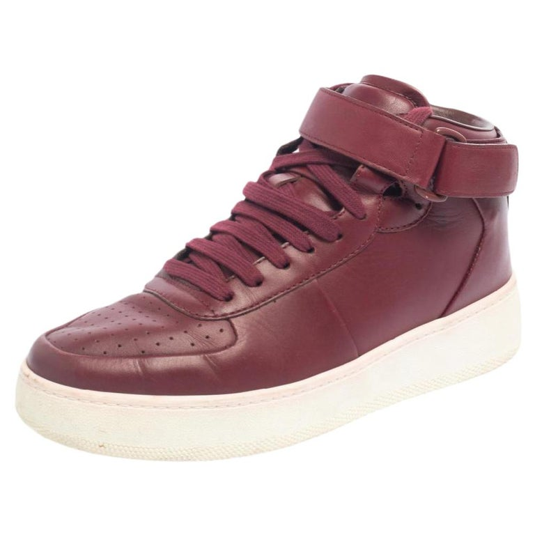 Celine Burgundy Leather Mid Top Lace Up Sneakers Size 38 For Sale