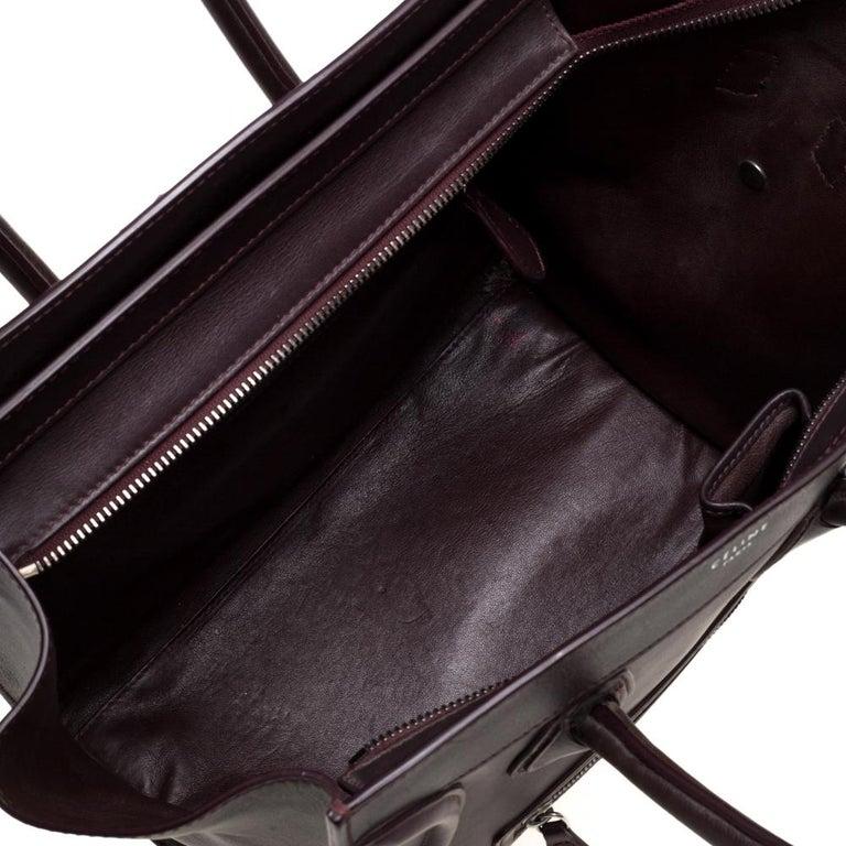 Celine Burgundy Leather Mini Luggage Tote For Sale 7