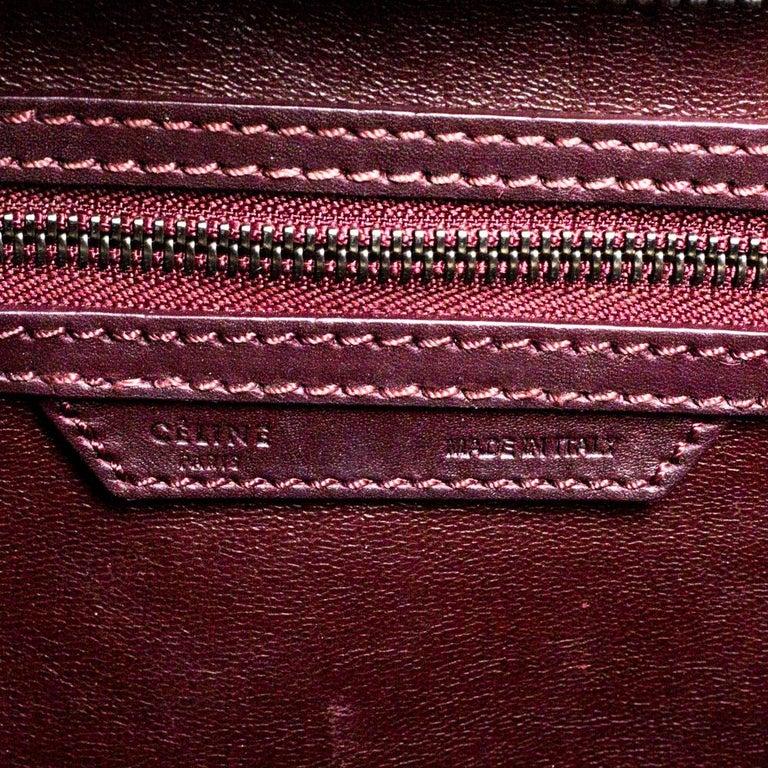Celine Burgundy Leather Mini Luggage Tote For Sale 8