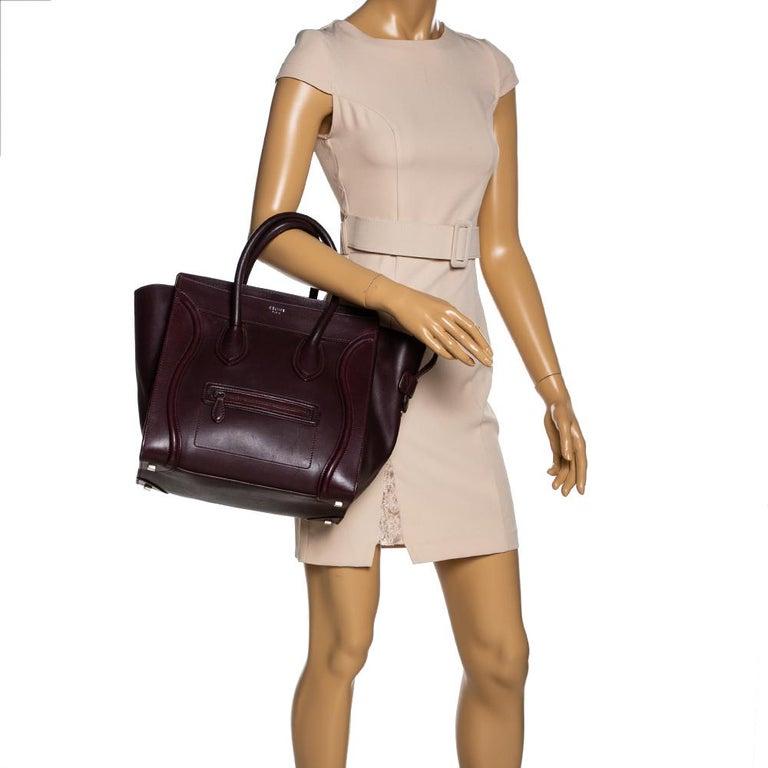 Black Celine Burgundy Leather Mini Luggage Tote For Sale