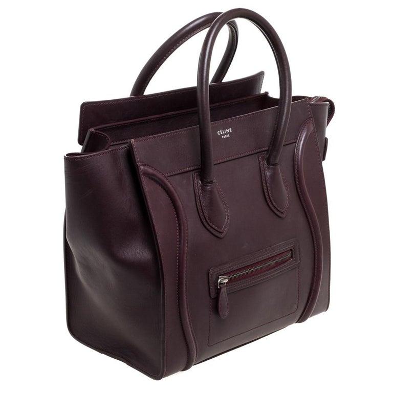 Celine Burgundy Leather Mini Luggage Tote In Good Condition For Sale In Dubai, Al Qouz 2