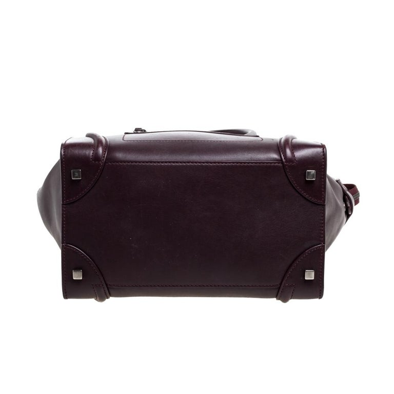 Women's Celine Burgundy Leather Mini Luggage Tote For Sale