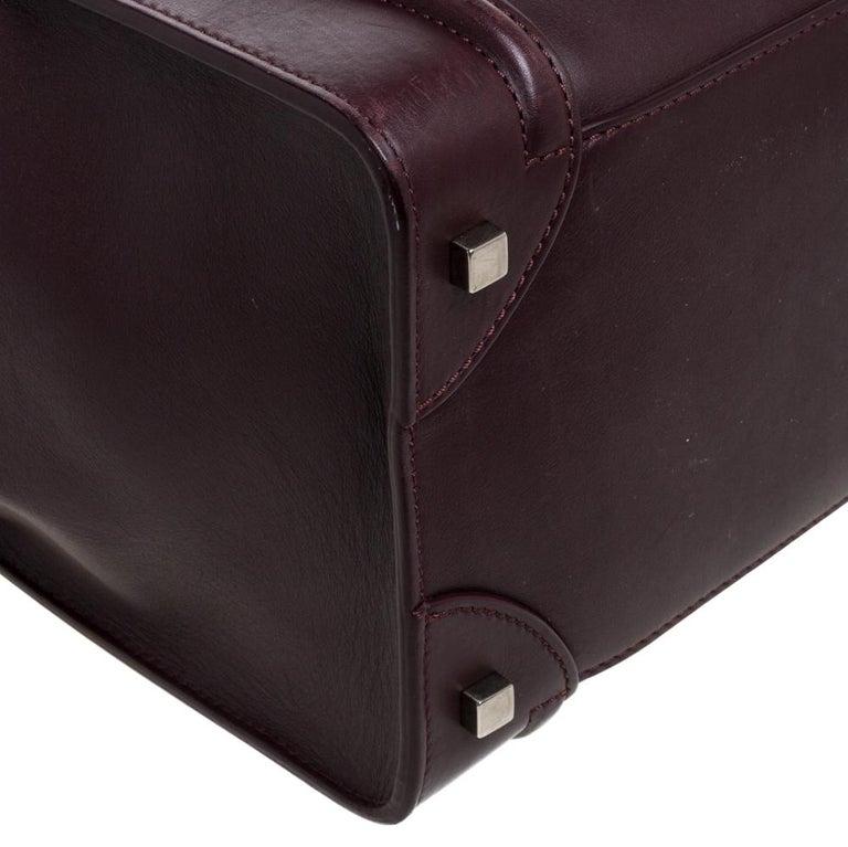 Celine Burgundy Leather Mini Luggage Tote For Sale 2