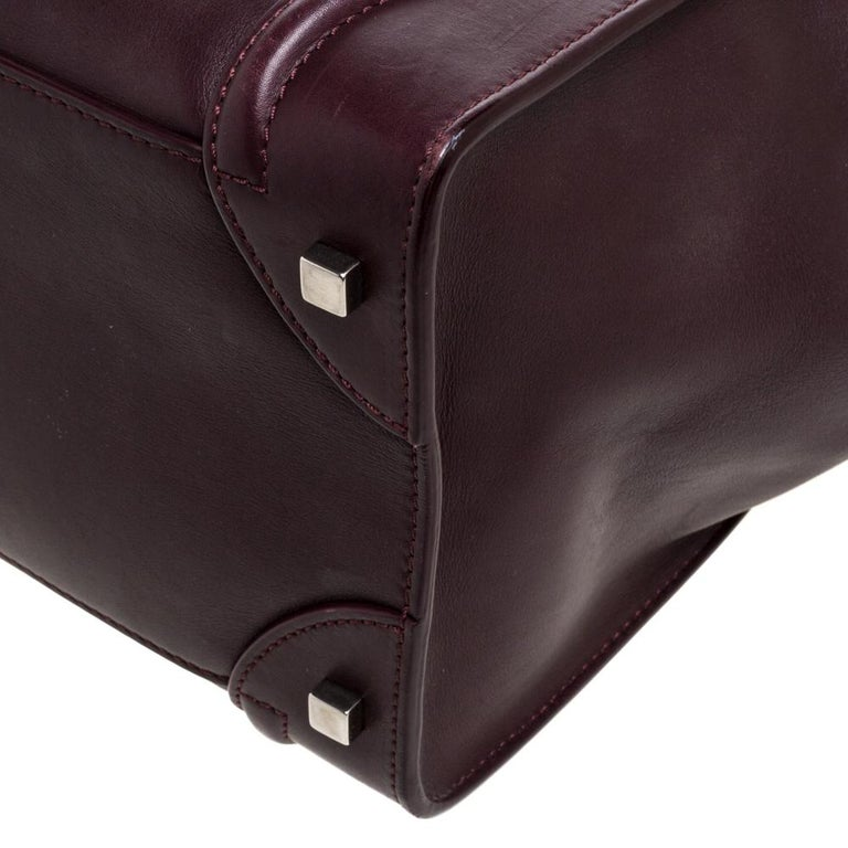 Celine Burgundy Leather Mini Luggage Tote For Sale 3