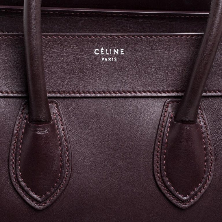 Celine Burgundy Leather Mini Luggage Tote For Sale 4
